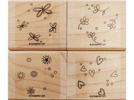 Stampin' Up! Sprinkles Stamp Set, Rubber On Wood, Set of 4