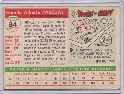 1955 Topps 84 Camilo Pascual  Not Graded