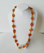 Crudely Cut Carnelian Gemstone Necklace - $58.50