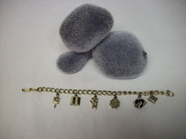Vintage Unknown Era College Themed Gold-tone Charm Bracelet - $14.98