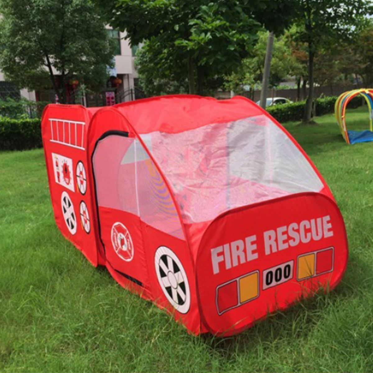 outdoor playhouse fire truck play tent kids pop up folding children playing tent play tents. Black Bedroom Furniture Sets. Home Design Ideas