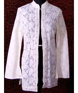 TRUE MEANING Ivory floral eyelet cotton romantic boho blouse jacket M (T... - $72.25