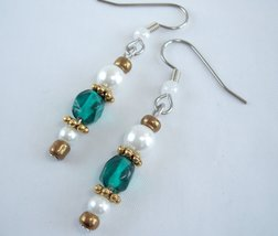 Womens Little Drop Earrings Teal Gold and White - $9.00