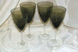 Noble Excellence Sparkle And Shine Set Of 4 Smoke Crackle Glass Wine Gla... - $29.79