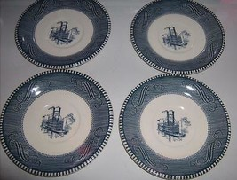 "Steamboat Scene Saucers Blue / White Patterned Trim USA 6.5"" - $21.99"