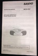 SANYO MCD-Z37 AM/FM STEREO CASSETTE RECORDER INSTRUCTION MANUAL ONLY - $7.99