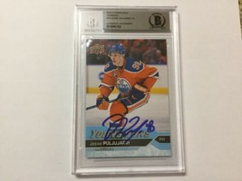 Jesse Puljujarvi Signed Jumbo UD Young Guns RC Card Slabbed Beckett BAS ... - $74.24