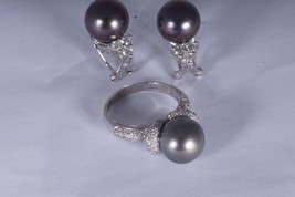 Exquisite South Sea Black Pearls with Diamond Earrings 18K & 14K Ring to... - $1,107.90