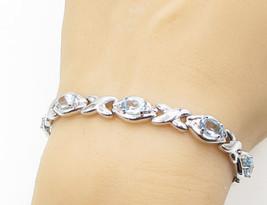 925 Sterling Silver - Blue & White Topaz XO Tennis Bracelet - B1393 - $60.73