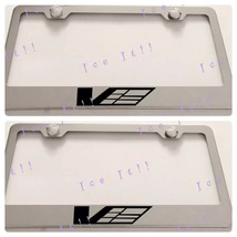2X For Cadillac V Power Stainless Steel License Plate Frame Rust Free - $24.74