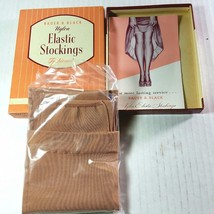 1954 Vintage Bauer & Black Elastic Stockings New Old Stock New in Box NOS - $24.26