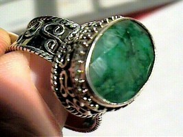 SILVER STERLING 925 Colombian NATURAL EMERALD ring 7.5 ELEGANT BOLD  O A... - $60.60