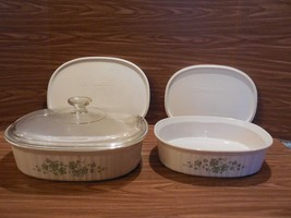 2 Corning Ware French White Callaway Ivy Oval 1.5 & 2.5L Casseroles w/Lids - $39.59