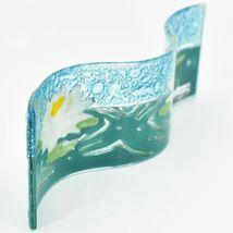 Fused Art Glass White Lotus Flower Wavy Decor Sun Catcher Handmade in Ecuador image 3