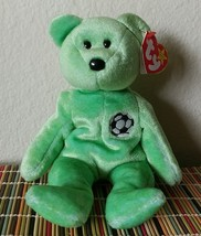 TY Beanie Baby KICKS 1999 Plush Soccer Futbol Bear Toy RETIRED Football Green - $7.99