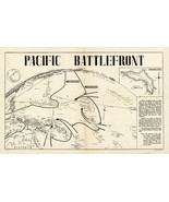 """XL 23""""x36.5"""" Pictorial 1944 Map Pacific Battlefront Kwajalein Atoll WWII Poster - $26.24"""