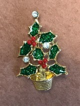 Vintage Avon Signed Small Sparkly Green Enamel Holly w Red Bead Berries ... - $14.89
