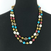 JOAN RIVERS multicolor necklace - turquoise red faux pearl gold filigree beaded - $24.50