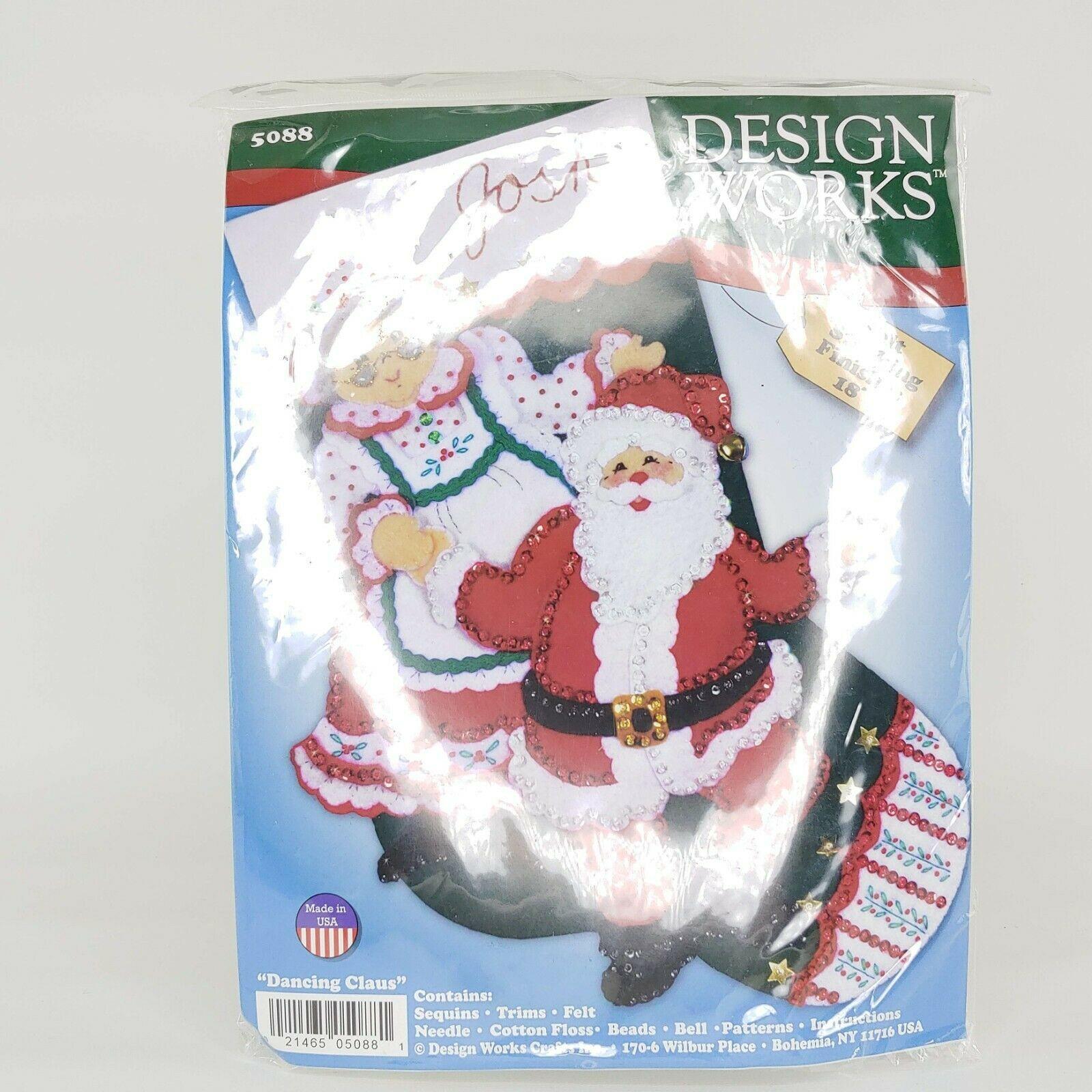 DESIGNS WORKS JEWELED FELT SANTA & MRS. CLAUS CHRISTMAS STOCKING 5088 - $16.33