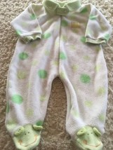 Bon Bebe Green White Polka Dots Frog Fleece Long Sleeve Pajamas 0-3 Months - $4.00