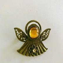 Vintage KC signed brass tone yellow topaz birthstone Angel J0624 - $10.44