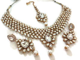 New Indian Gold Plated Fashion White Kundan Bridal Necklace Earrings Jewelry Set - $31.99