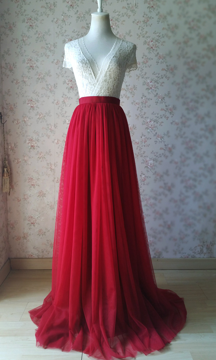 Red tulle bridesmaid wedding skirt 38 750 03