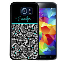 Monogrammed Rubber Case For Samsung S8 S7 S6 S5 Edge Plus Paisley Teal Black - $12.98