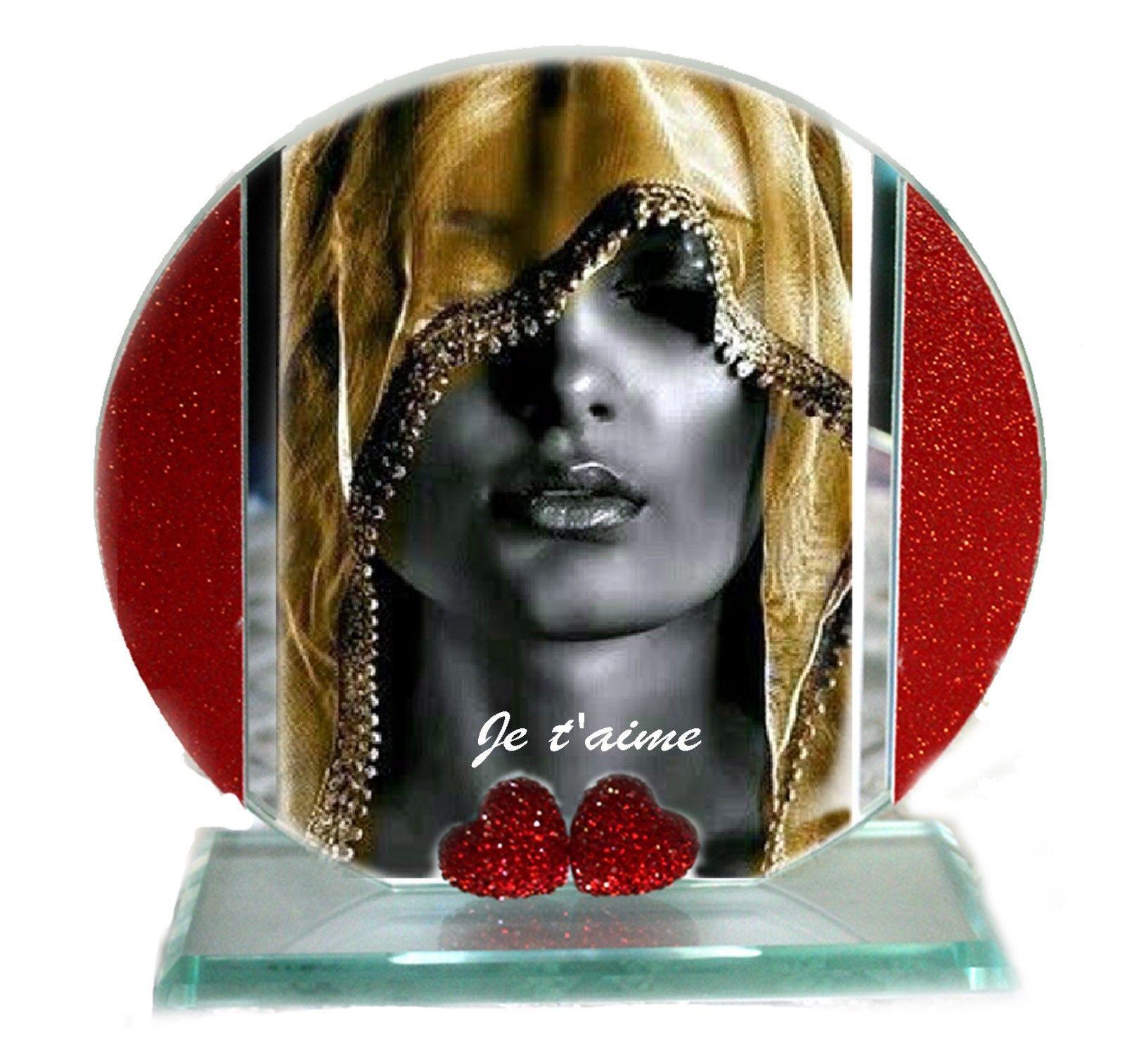 Pure Gold, Je t'aime, Cut Glass Round Plaque, Xmas Edition | Cellini Plaques #1