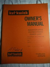 Kut-Kwick H-1000-36 H-1600-36 lawn tractor manual owner's parts manual **rare - $16.41