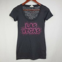 Las Vegas Womens Tshirt S Black Sheer Pink Rhinestones Graphic Scoop Boz... - $14.99