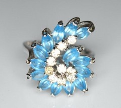 VTG Silver Tone Blue Clear Rhinestone Nautilus Shell Cocktail Ring Size ... - $29.70