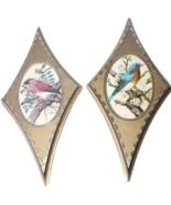 Set of 2 Mid Century Modern MCM Wall Art Set Gold Diamond Bird Plaques - $44.99