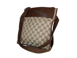 Authentic GUCCI GG Pattern Canvas Leather Browns Cross-Body Shoulder Bag... - $259.00