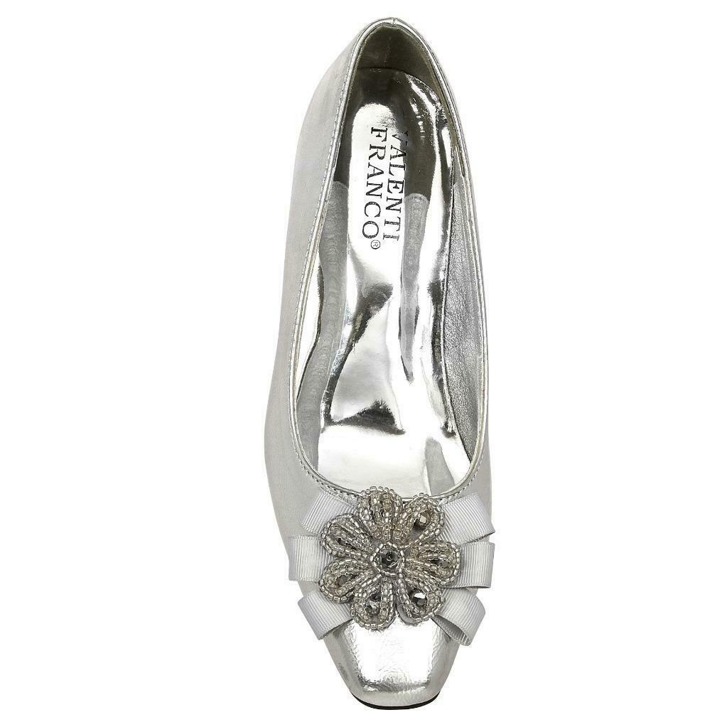 Women's Valenti Franco Low Heel Church Formal Dress Silver Shoes Moda-14