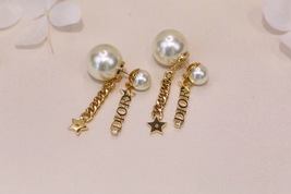 AUTH CHRISTIAN DIOR 2020 J'ADIOR DOUBLE PEARL GOLD STAR DANGLE FINISH EARRINGS image 9