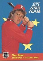1986 Fleer All Stars Tom Herr 4 Cardinals - $1.00