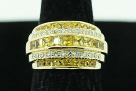 Custom 14K Yellow Gold Yellow Princess Cut Sapphire and Diamond Ring (Sz... - $1,075.00