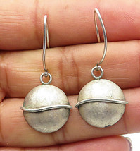 925 Sterling Silver - Vintage Minimalist Dome Disk Style Dangle Earrings - E4528 - $23.41