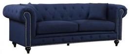 Meridian 662 Chesterfield Living Room Sofa in Navy Blue Fabric Contempor... - $29.708,47 MXN