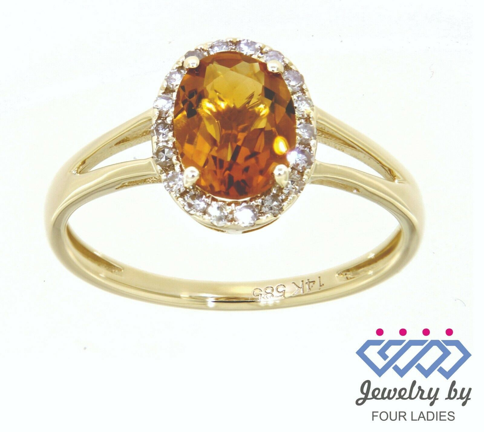 Primary image for Citrino Gemma 14K Oro Giallo 1.04CT Vero Naturale Halo Anello Diamante