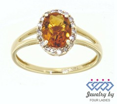 Citrino Gemma 14K Oro Giallo 1.04CT Vero Naturale Halo Anello Diamante - $208.77