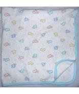 Carters Vintage Baby Receiving Blanket Teal Polka Dot Plaid Animal White... - $36.51
