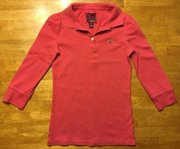 Hollister Women's Pink 3/4 Sleeve Polo Shirt - Size: Small - $14.84