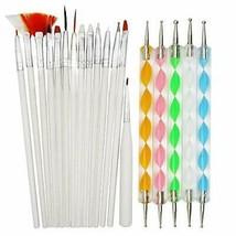 15 Pcs Nail Art Tools Kit UV Gel Polish Nail Art Painting Brush 5Pcs (LU... - $10.40