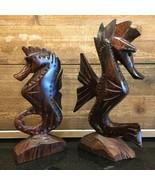 """Set of 2 Carved Dark Wood Seahorses 7"""" & 8-1/2"""" Seahorse Figurines - $24.99"""