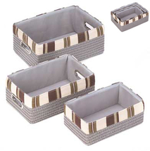 3 pc gray woven taupe striped fabric nesting bedroom bathroom laundry basket set - $20.00