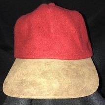 Broner Ball Cap Red Melton Wool Suede Leather Bill Strapback Buckle Made... - $24.74