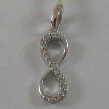 SOLID 18K WHITE GOLD PENDANT, 0,87 In, WITH INFINITY SYMBOL AND ZIRCONIA image 2