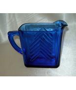HAZEL ATLAS Cobalt Blue Small Squared Glass Art Deco Chevron Creamer / P... - $9.70